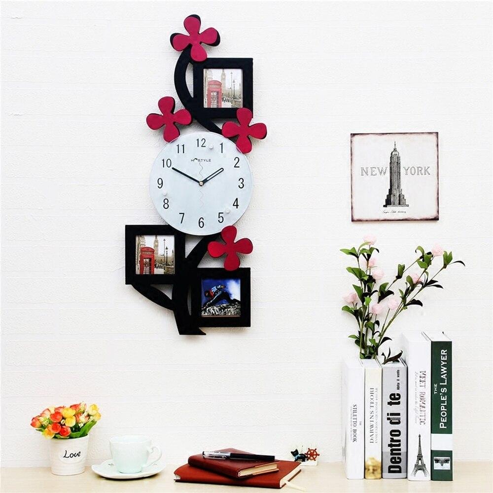 1 шт. Цветочные художественные Подвесные часы Дети немой Современная фоторамка часы гостиная прекрасный модный кулон LU727108
