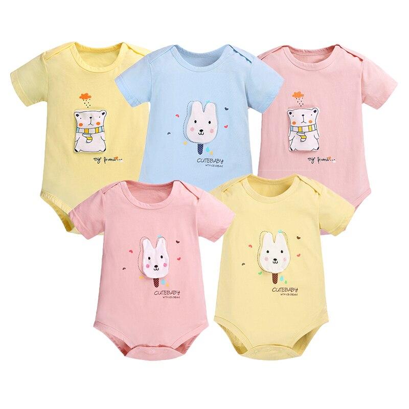 Summer Baby Bodysuit Toddler Girl Short Sleeve Pure Cotton Outfit Clothes Body Baby Boy Onesie Vetement Cheap Children Bodysuits