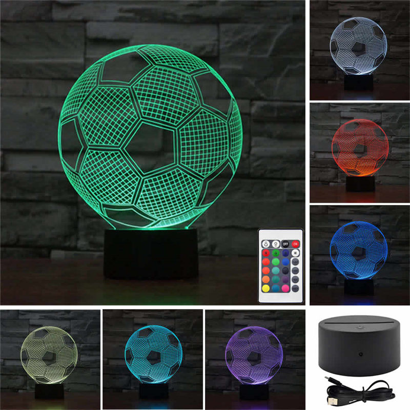 AUCD Remote Football Soccer Colorful Sport Patterns Acrylic Touch Table Lights Bar Art Decor 3D Visual USB LED Desk Lamps-TD20