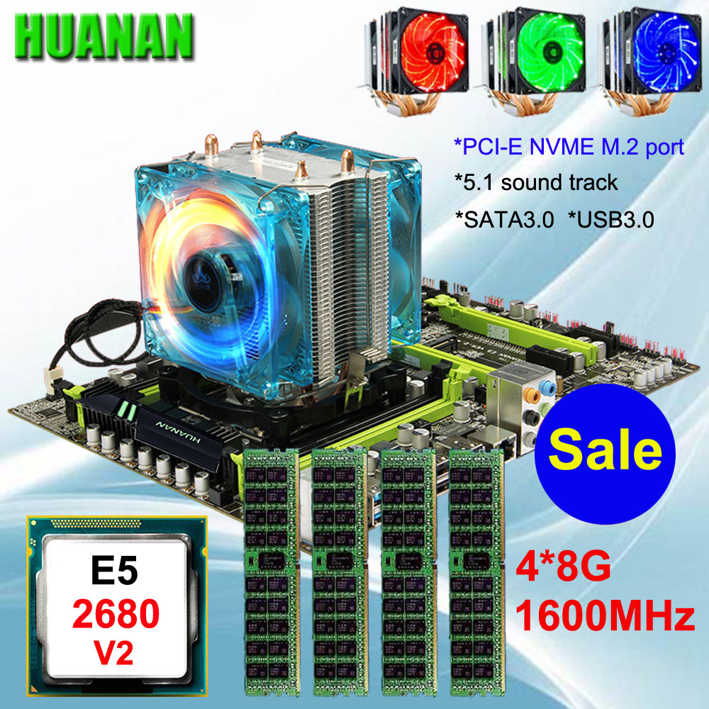 Bon HUANAN ZHI X79 carte mère avec uc RAM à prix réduits mobo avec M.2 slot CPU Xeon E5 2680 V2 avec cooler RAM 32G (4*8G) 1600 RECC