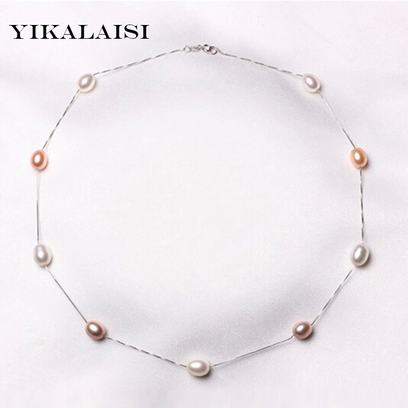 2017 Fashion Natural Pearl Chokers Necklaces 925 sterling Silver Jewelry For Women pearl Necklace silver chain Accessories Gift 925 sterling silver music chain violin pendant choker necklace fashion jewelry cello chokers necklaces