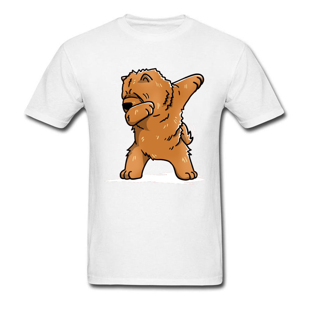 Funny-Dabbing-Chow-Chow-Dog- Short Sleeve Tops & Tees Round Collar 100% Cotton Men T Shirts Casual Tee Shirt New Coming Funny-Dabbing-Chow-Chow-Dog- white