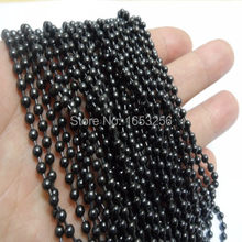 2mm/3mm/4mm in bulk Lot 5 meters IP Black Plated Stainless Steel Ball Beads chain jewelry finding Marking DIY