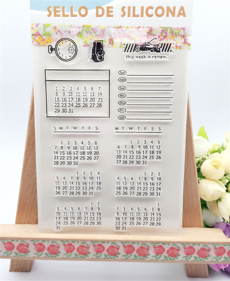 perpetual calendar design for Transparent Clear Silicone Stamp DIY scrapbooking photo album clear stamp christmas gift CL-055 lovely animals and ballon design transparent clear silicone stamp for diy scrapbooking photo album clear stamp cl 278