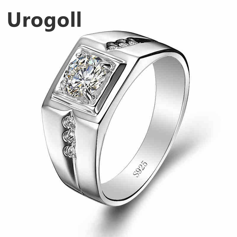 Hot Sale Real 925 Sterling Silver Rings For Man Wedding Engagement Ring Fashion AAA Zirconia Ring Fine Jewelry Gifts