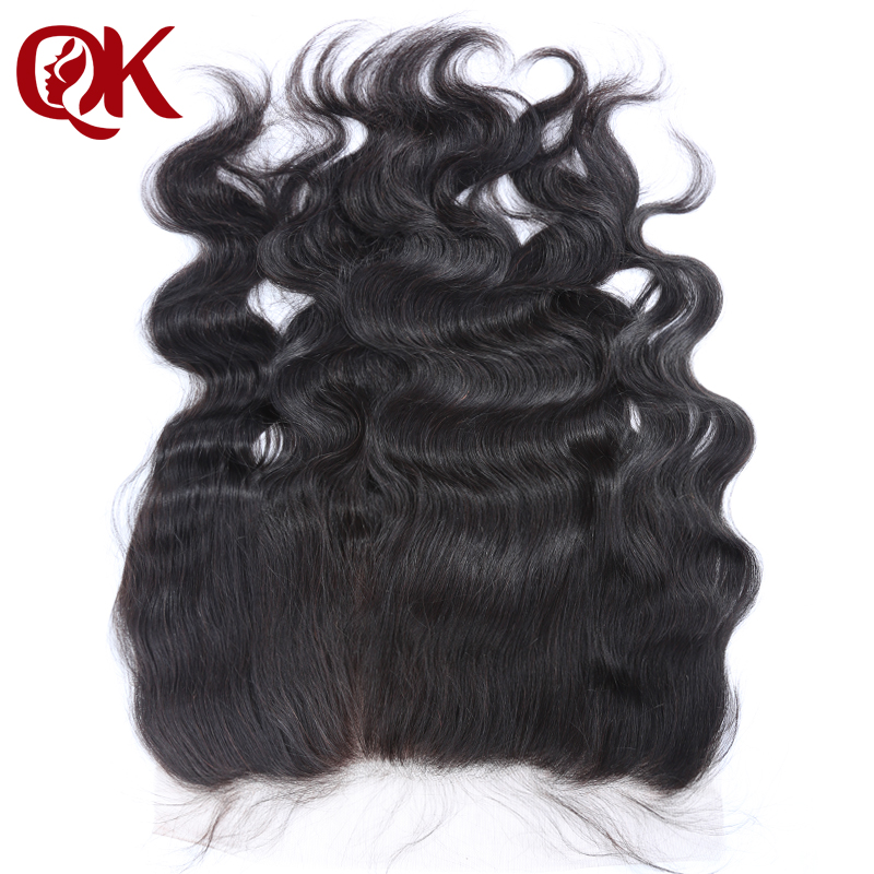 QueenKing Hair Brazilian Lace Frontal Closure Body Wave Remy Hair 13x6 Plucked Natural Hairline Bleached Knots