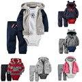 2016 зима детская одежда набор 3 шт. руно мальчиков одежда Пальто + Ползунки + Брюки Новорожденных девочек Одежда Наборы дети Одежда Для новорожденных