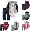 2016 bebé ropa de invierno conjunto 3 unids ropa de lana de los bebés Capa + Romper + Pant de los bebés Arropa los Sistemas los niños Ropa de recién nacido