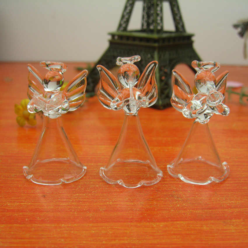 Crystal Transparent Glass Angel Christmas Ornaments Height 5cm x 5 pcs in different style , Glass Angels