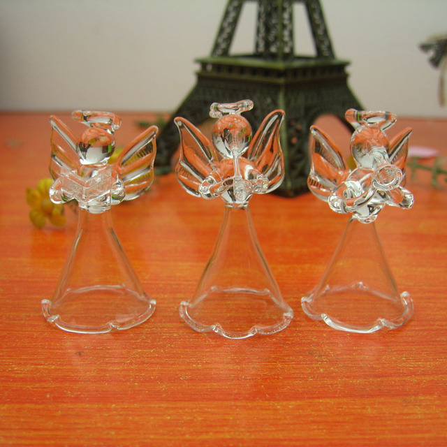 Crystal Transparent Glass Angel Christmas Ornaments Height 5cm X 6 Pcs In  Different Style , Glass