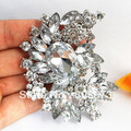 Luxury Wedding Bridal Dress Big Crystal Sparkling Diamante Brooches Bridesmaid Pins Elegant Huge Crystal Rhinestone Large Brooch