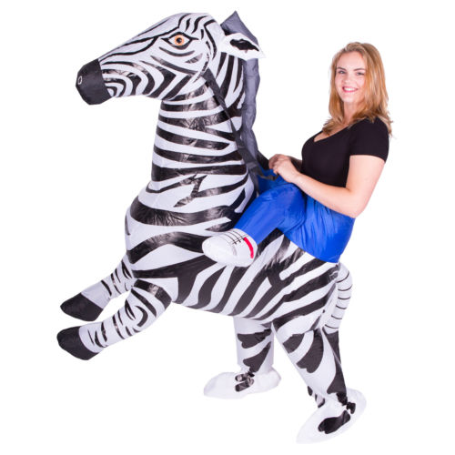 Adult Funny Inflatable Animal Zebra Fancy Dress Costume Outfit Ride on Zebra Mascot CostumeHalloween Purim Stag 150cm-200cm