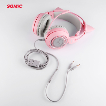 SOMIC G951s PS4 Pink Cat Ear Noise Cancelling Headphones 3.5mm Plug Girl Kids Gaming Headset with Microphone for Phone/Laptop 3