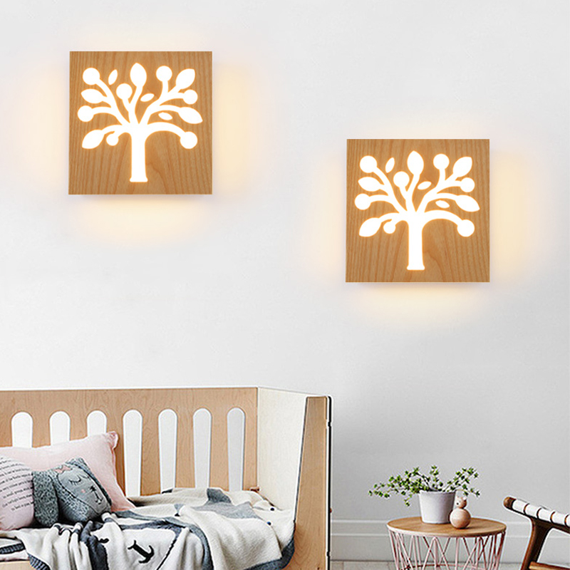 Wall lamp bedroom room simple LED bedside lamp creative solid child  wood balcony stairs aisle living room wooden lights ZH bedside wooden wall lamp wood glass aisle wall lights lighting for living room modern wall sconce lights aplique de la pared