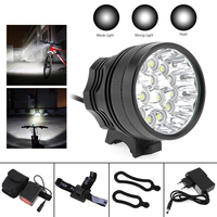 15x XM L T6 LED Bicycle Lamp Bike Light White Light Color Headlight Cycling Torch with 8.4V 6400mAh Battery Set