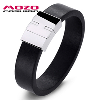 MOZO FASHION Jewelry Men Retro Bracelet Simple Leather Large Buckle Bracelets Bangles Man Black Exaggeration Bangle