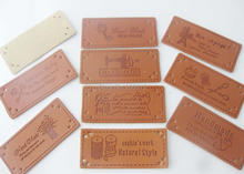 LLNVS 25mm*55mm Bag labels 36 pieces Hand made PU Leather DIY sewing accessories