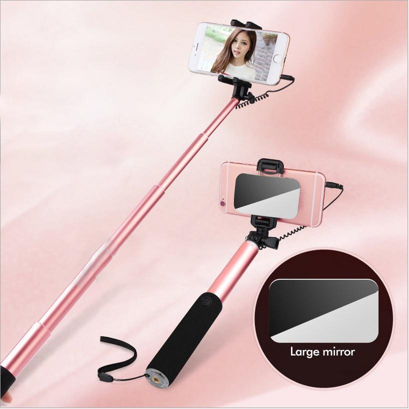 Universal con conexión de cable Selfie Stick Mirror Monopod - Cámara y foto - foto 1