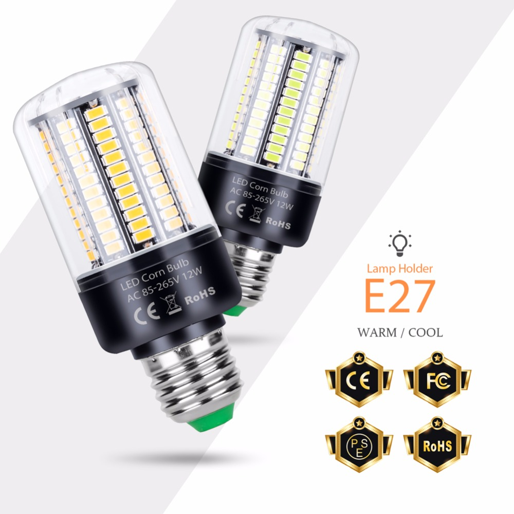 E27 Led Lamp E14 Led Light 220V 110V Led Bub 3.5W 5W 7W 12W 15W 20W Leds Corn Light SMD 5736 No Flicker Home Chandelier Lighting
