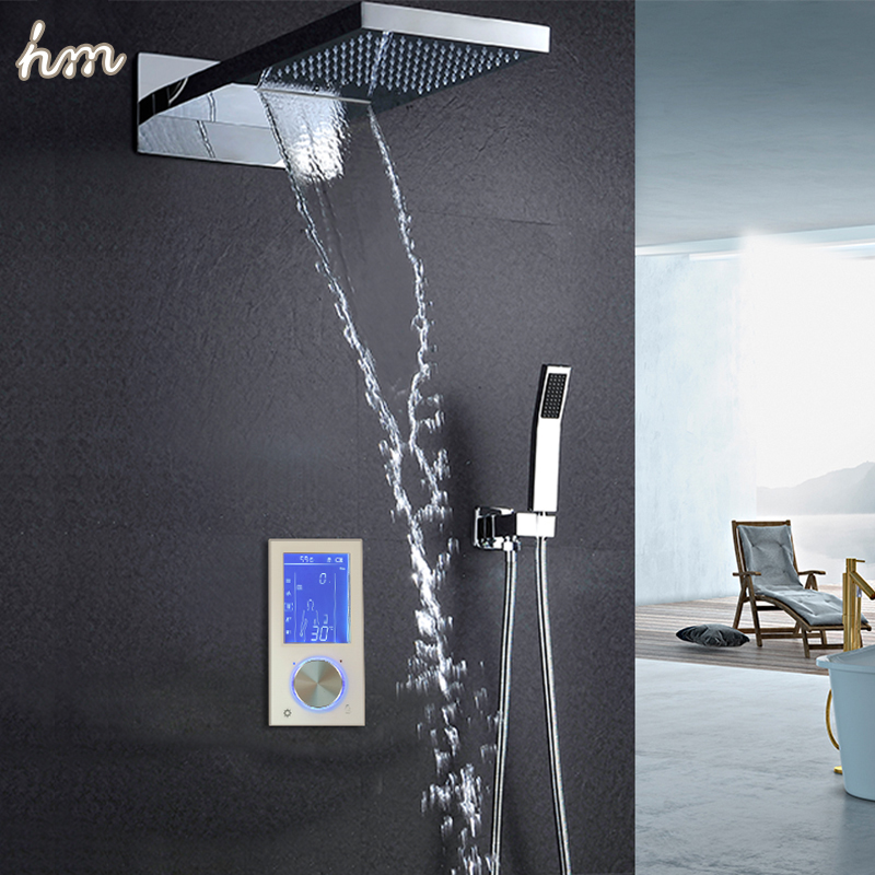 hm Digital Shower Head 22 Touch Waterfall Thermostatic Shower Controller Shower Set Rainfall Massage Bath Shower