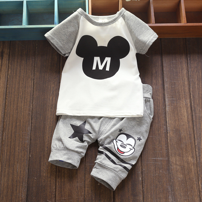 2017 summer cotton baby boy girl clothes toddler clothing sets M letter short sleeve tops + cartoon pants suits for infant kids girls tops cute pants outfit clothes newborn kids baby girl clothing sets summer off shoulder striped short sleeve 1 6t