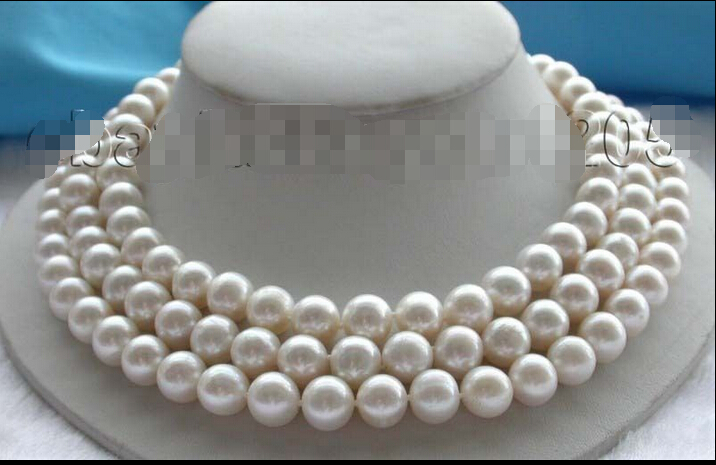 Free Shipping 3rows Genuine Natural 11mm White Round Pearl Necklace ! () free shipping alongest 65 genuine natural 11mm black round pearl necklace f1544 a