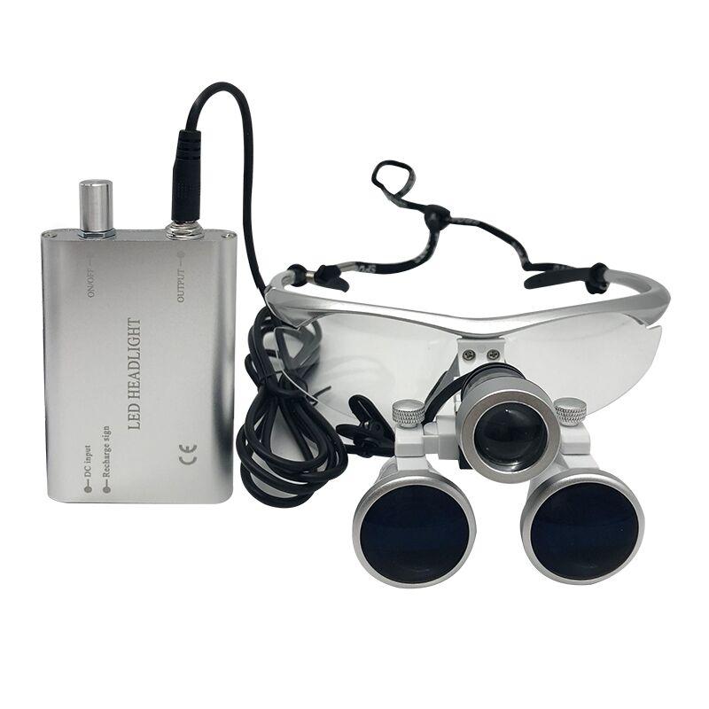 Lupas dentales, gafas con lentes de aumento de 3,5 X y 420 mm para cirugías, equipos dentales, lupas de cirugía para dentistas con lámpara LED de cabeza.