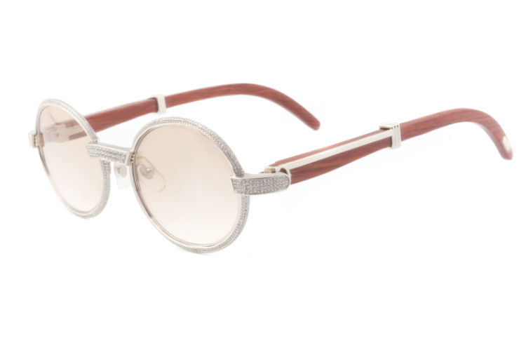 Cartier 55-22 Full Diamond Red Wood Silver Frame Brown Round Lens (1)