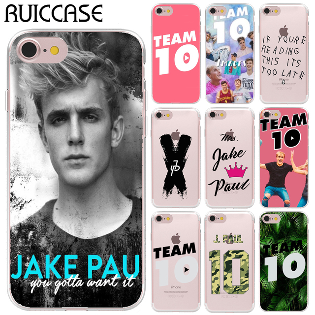 sale retailer 655f0 ade2f US $1.34 20% OFF|Ultra Thin Soft TPU Gel Silicon Jake Paul Team 10 Case For  Apple iPhone 6 6S 7 8 Plus X 5 5S SE Transparent Phone Cover-in Fitted ...