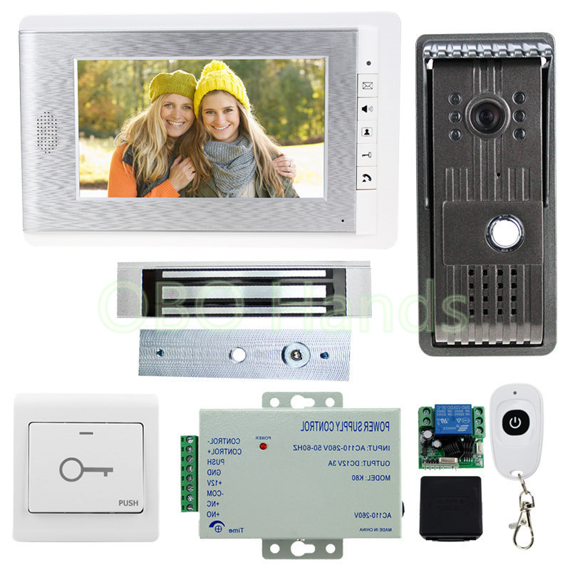 Free fast shipping! 7 inch TFT color video door phone intercom system with IR camera doorbell and 180KG electric magnetic lock door intercom video cam doorbell door bell with 4 inch tft color monitor 1200tvl camera