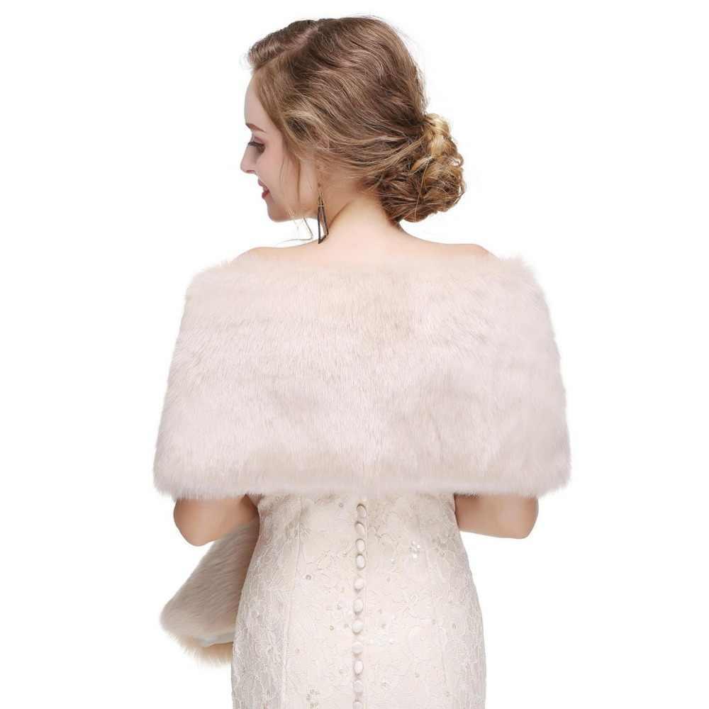 Immagine reale A Buon Mercato Dell'involucro di Cerimonia Nuziale Lungo Bianco Faux Fur Wrap Bolero Spalla Cappotto Giacca Scialle Da Sposa Abiti Da Sposa Autunno/ inverno
