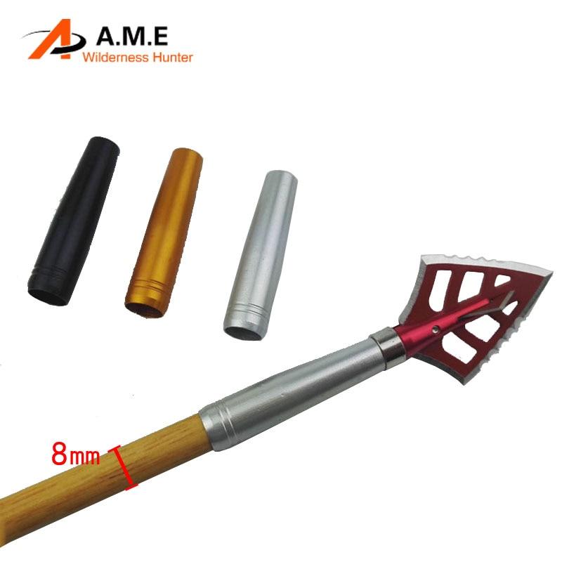 پیکانهای آلومینیومی 6 عدد درج تیراندازی با کمان اتصال Arrowhead Arrow اتصال پیچ های پیچ سرهای پهن ترکیه پرهای چوب و بامبو