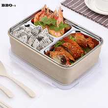 Portable Japanese Bento Lunch Boxs Set Steel Thermal Lunch Boxs Teaspoon Fork For Kids Picnic Food Container 3-Grids