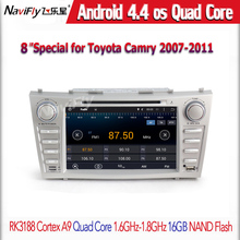 Free shipping car DVD player GPS Navigator for Toyota CAMRY 2007-2011 Andorid4.44 Quad-Core System Free 8G map card