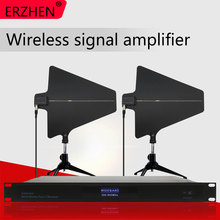 Wireless microphone amplifier antenna receives signal amplification distance of 500 meters. 4-channel enhanced annunciator wireless channel models and beamforming antenna arrays