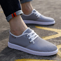 Men Mesh Casual Shoes Breathable Summer & Autumn Casual Shoes for Men Rubber Men Trainers Lace Up Flats Fashion Blue & Gray 5