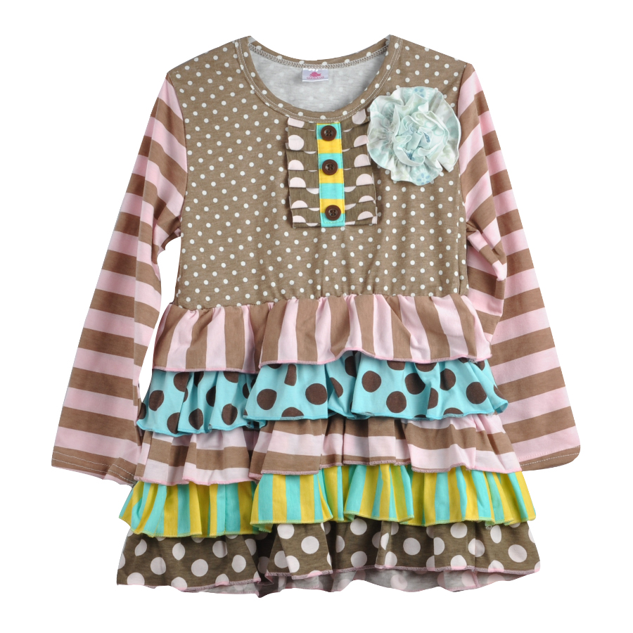 Fashion Style Blomma Tunika Polka Dots Ruffle Småbarn Flickor Remake - Barnkläder - Foto 2
