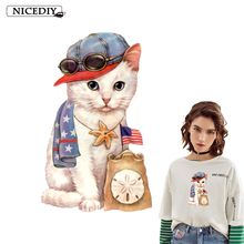 Nicediy Fashion Cat Iron on Heat Transfer Printing Vinyl Patches Stickers for Clothes DIY Appliques Washable Cute Badge