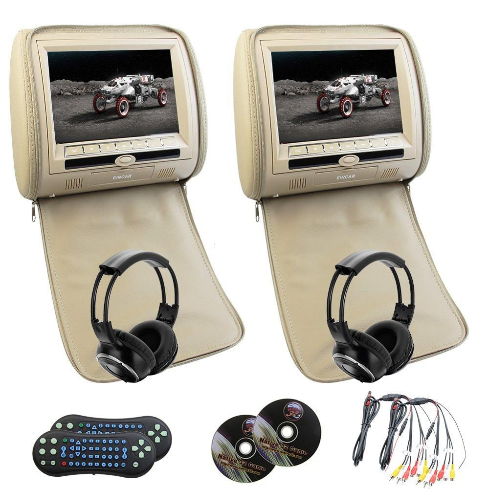 купить Eincar car 9 inch car DVD pillow Headrest two Monitor LCD Screen USB/SD 32 bit game FM IR Multimedia Player+free 2 IR headphones по цене 12812.77 рублей