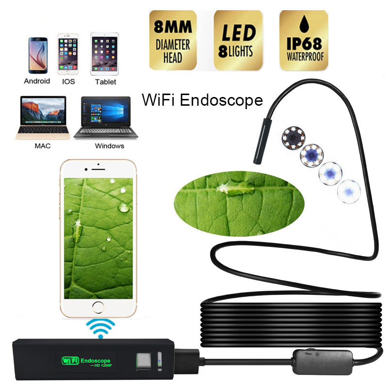 New HD 1200P Wifi Endoscope Camera USB IP68 Waterproof Borescope Semi Rigid Tube Wireless Video Inspection For Android/iOS