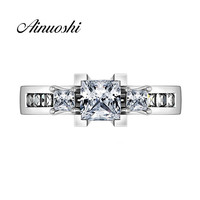 AINUOSHI Vintage Silver Princess Cut Ring Three Stones Women 925 Sterling Silver Sona Ring Square Wedding Bridal Rings Band