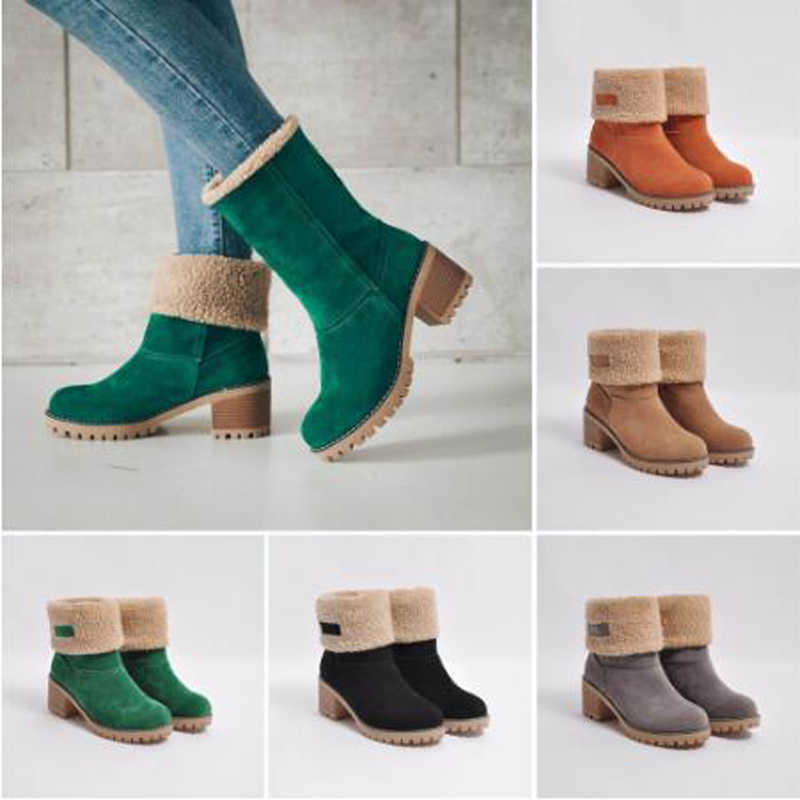 Women's Shoes Snow boots Ladies Winter Flock Warm Boots Martinas Ankle Boots Short Bootie Slip-On Outside Shoes Botas C011
