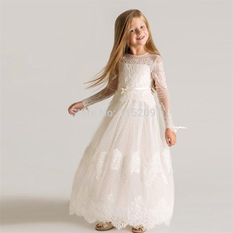 Vintage Lace Long Sleeve Flower Girls font b Dresses b font For font b Weddings b