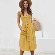 JULY Summer Women Dress Vintage Sexy Bohemian Floral Tunic Beach Sundress Pocket Red White fashion Striped 2019 new
