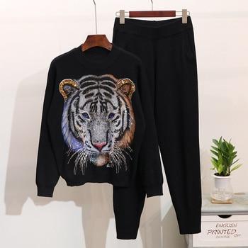 European style beading animal pattern sweaters+casual pants two piece set autumn winter women knitting pantsuits D887