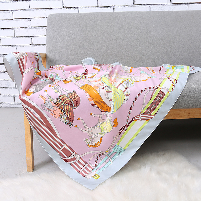 100 Twill Silk Horse Scarf Women Pink Neckerchief Foulard Shawls Wraps Luxury Brand Square Scarves Female