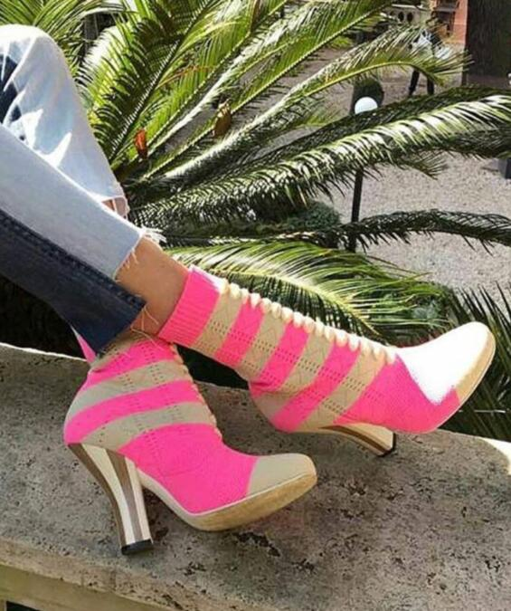 2017 Spring Hot Stretch Pink Knit Women Ankle Boots Elegant Embroidery Ladies Slip On Boots Strange Style Med Heel Female Boots slip on winter boots stretch lycra