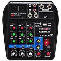 Plugue da ue A4 Console De Mixagem De Som Bluetooth Usb Record Reprodução Computador 48 V Phantom Power Delay Efeito Repaeat 4 Canais usb UMA