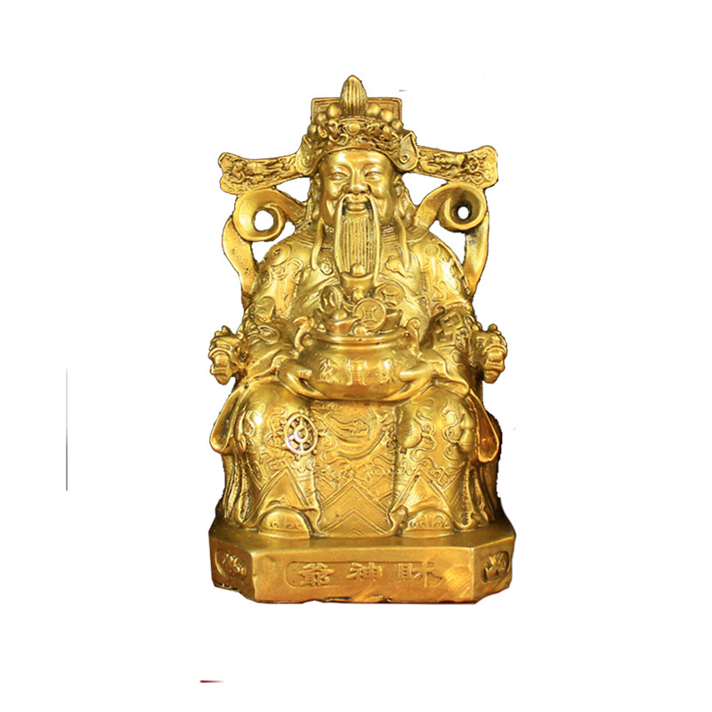 Feng shui China God of Wealth Hold Treasure Bowl Bronze Statue Home Decor Gift Decoration Accessories