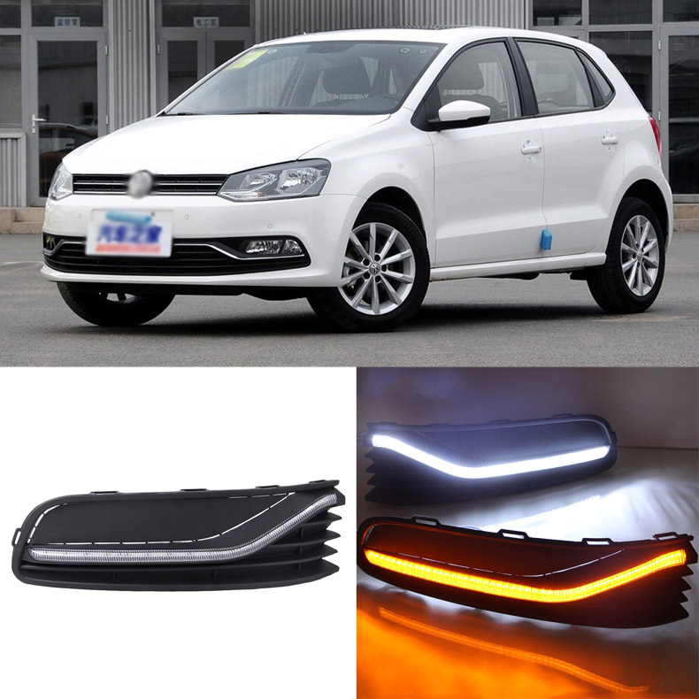 Ownsun Brand New Updated LED Daytime Running Lights DRL With Black Fog Light Cover For VW POLO 2014-2016 цена и фото